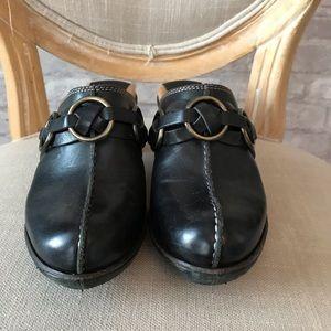 Frye Black clogs with braid trim